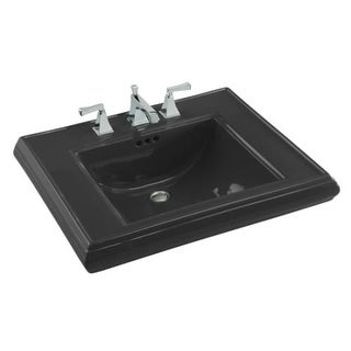 """Kohler K-2259-8 Memoirs Classic 27"""" Fireclay Pedestal Bathroom Sink with 3 Holes Drilled and Overflow"""
