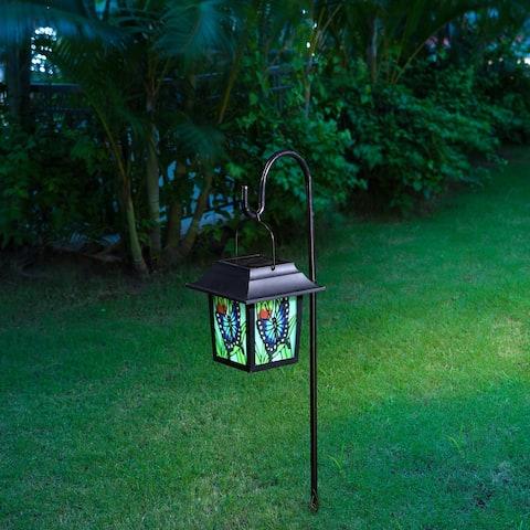 "Glitzhome 30""H Solar Powered LED Pathway Light Garden Stake - Black"