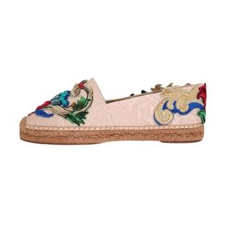 Dolce & Gabbana Pink Brocade Crystal Espadrilles Shoes - eu39-us8-5
