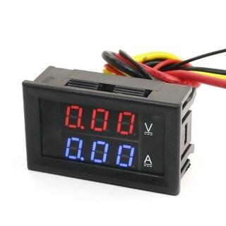 DC Powered 0-100V 0-2A Digital Red Blue LED Volt Test Panel Meter