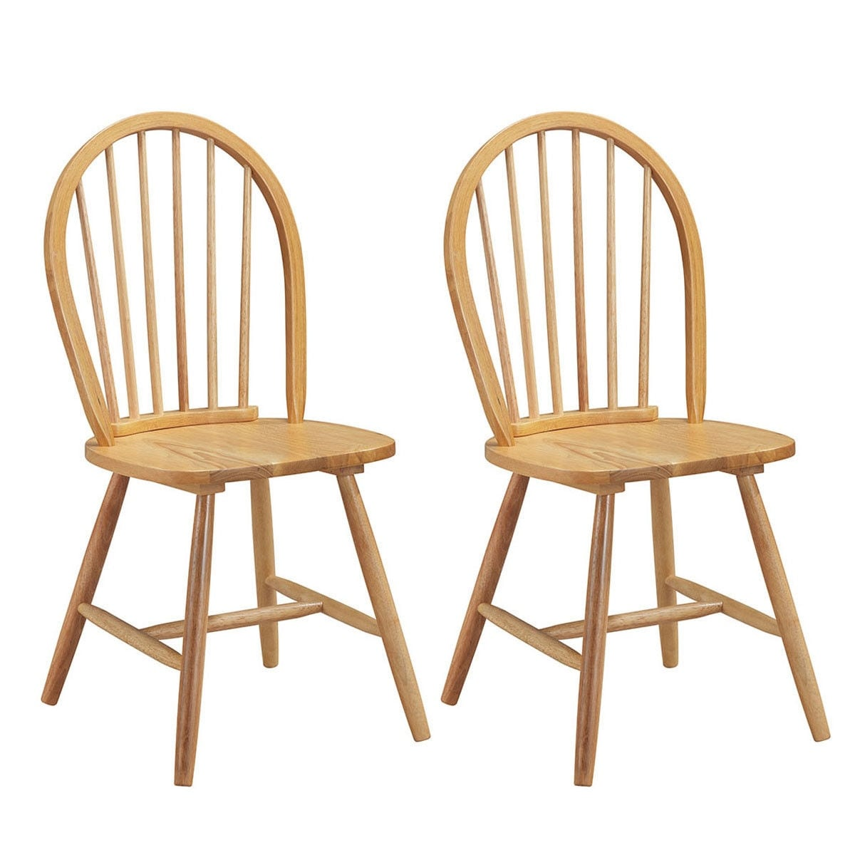 Costway Set Of 2 Vintage Windsor Side Chairs Wood Spindleback Dining Room Natural