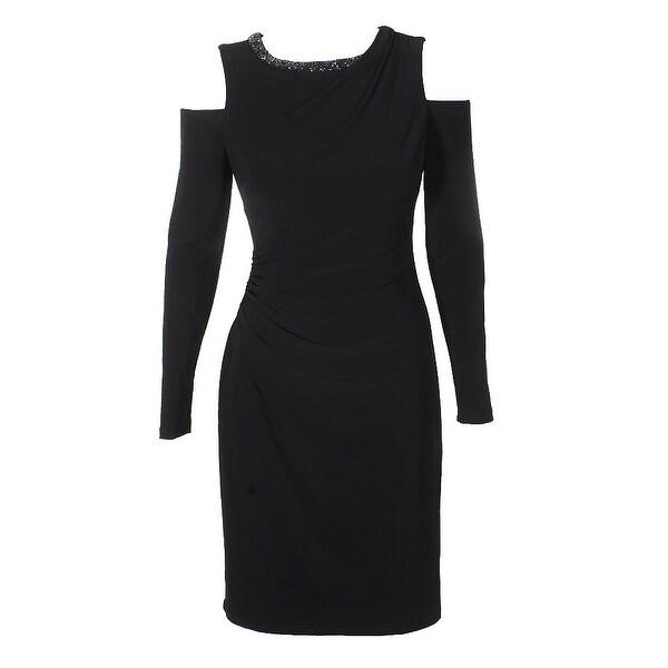 e4fb16a2ac2 Lauren Ralph Lauren Black Cold-Shoulder Embellished Neck Jersey Sheath Dress  2