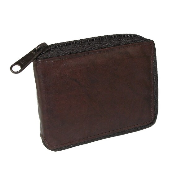 CTM® Men's Leather Zip Around Wallet - One size