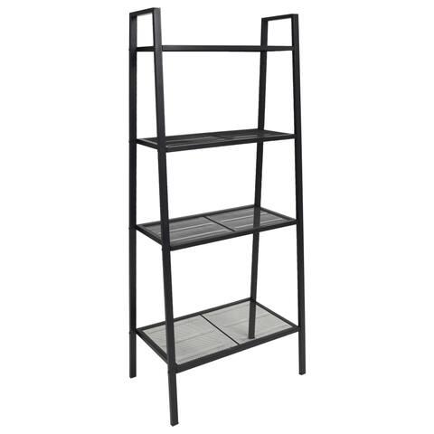 vidaXL Ladder Bookcase 4 Tiers Metal Black