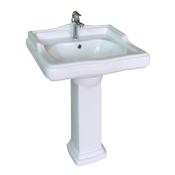 China Pedestal Sink White Grade A Vitreous Scratch Resistant with Overflow Hole