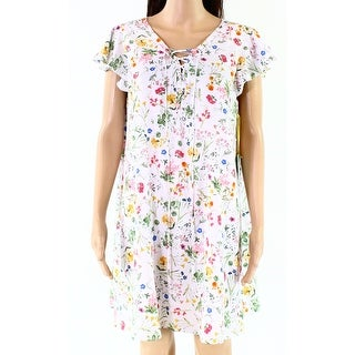 CeCe White Womens Size 2P Petite Floral Ruffle Lace-Up Shift Dress