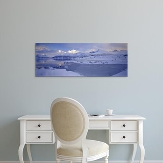 Easy Art Prints Panoramic Images's 'Clouds over mountains, Lofoten, Nordland County, Norway' Premium Canvas Art