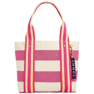 Tommy Hilfiger Classic Tommy Woven Rugby Tote Raspberry/Natural - One Size