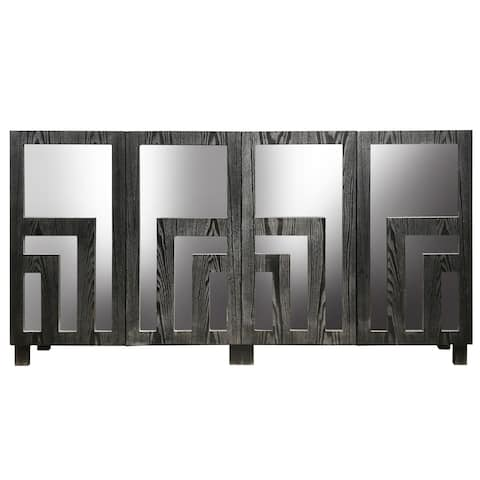 Harp & Finial Mayberry Distressed Dark Gray Sideboard with Beveled Mirror Surface