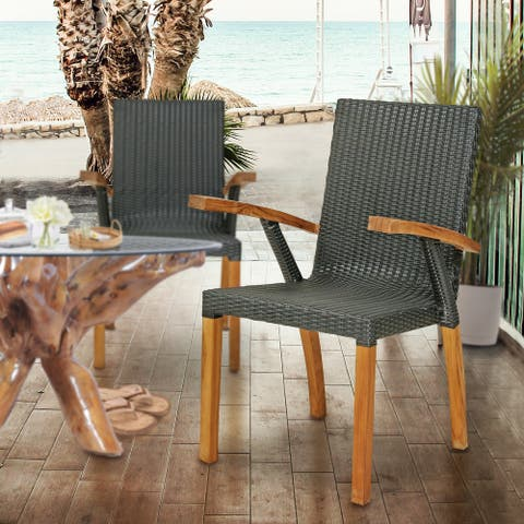 Chic Teak Outdoor Teak Wood Patio Bali Dining Chair
