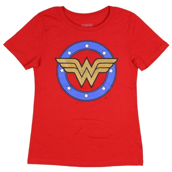 a29064d119e Shop DC Comics Wonder Woman Shirt Girls Shield Costume Gold Glitter Logo Tee  - Free Shipping On Orders Over  45 - Overstock - 25643267