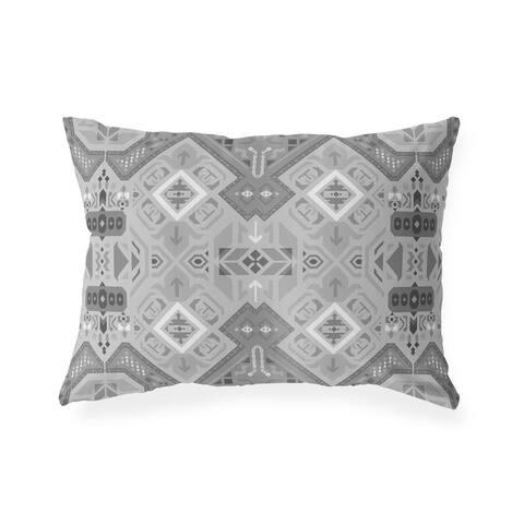 ABADEH CHARCOAL Indoor Outdoor Lumbar Pillow by Kavka Designs - 20X14