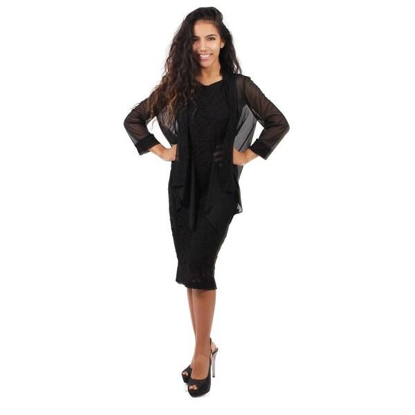 Shop Lace Sheath w  Chiffon Jacket - Free Shipping Today - Overstock.com -  16147769 615e0af382a5