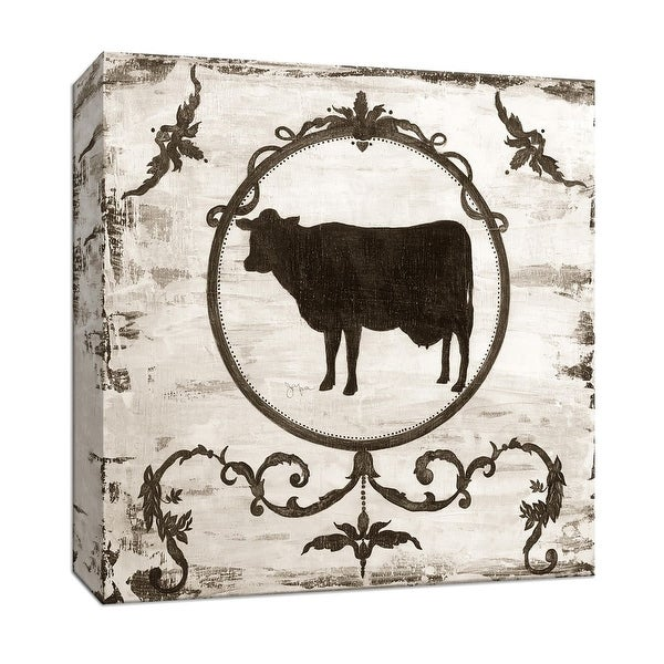 "PTM Images 9-147064 PTM Canvas Collection 12"" x 12"" - ""Berkshire Cow"" Giclee Farm Animals Art Print on Canvas"