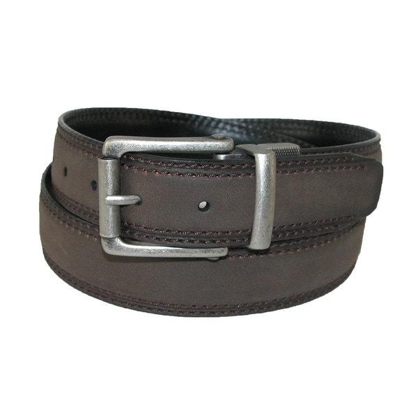 Dickies Men's Leather 1.25 Inch Reversible Belt with Roller Buckle