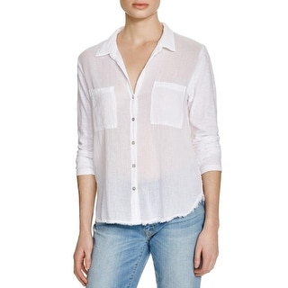 Velvet Womens Button-Down Top Sheer Double Pocket
