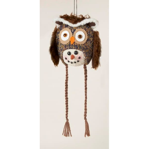 """14"""" Storybook Garden Snowman with Plush Owl Hat Christmas Ornament - brown"""