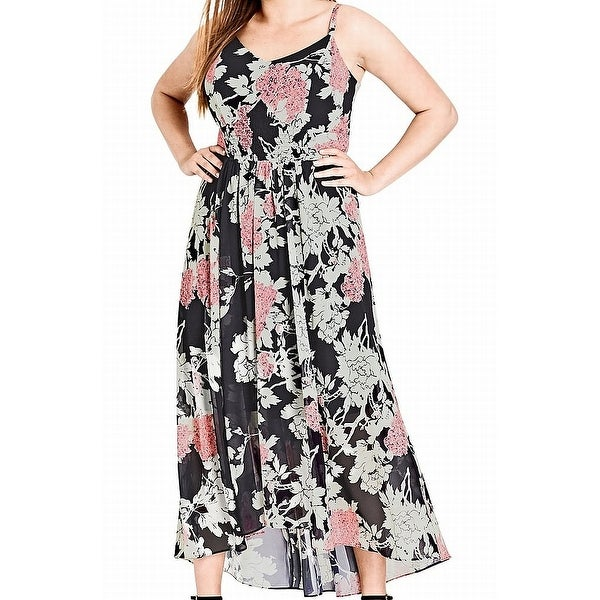 55a55d33ce Shop City Chic Black Womens Size 24 Plus Floral V-Neck Maxi Dress ...