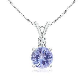 Angara V-Bail Round Tanzanite Solitaire Pendant with Diamond - Blue