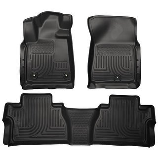 Husky Weatherbeater 2014-2016 Toyota Tundra DoubleCab Black Front & Rear Floor Mats/Liners
