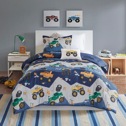 Mi Zone Kids Gavin Monster Truck Blue Comforter Set