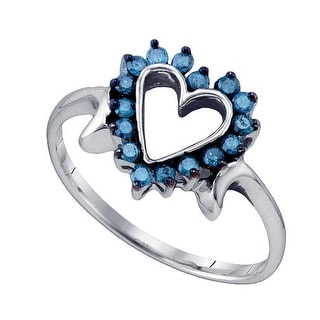 10kt White Gold Womens Round Blue Colored Diamond Heart Love Fashion Ring 1/4 Cttw