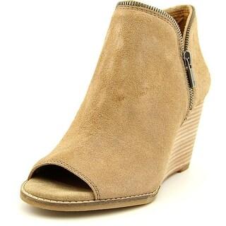 Lucky Brand Jakobie Women Open Toe Leather Nude Wedge Heel