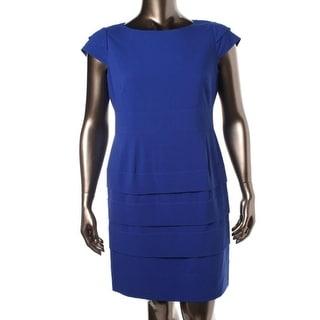 Tahari ASL Womens Leo Boatneck Tiered Wear to Work Dress - 6P