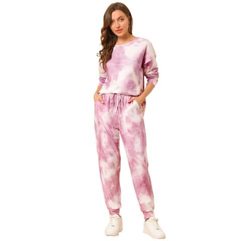 Allegra K Women 2 Piece Outfits Loungewear Sweatsuits Pjs Sets - Pink