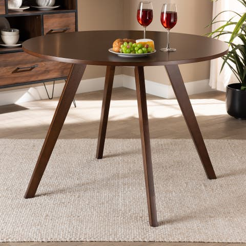 Alana Mid-Century Modern Transitional Round Wood Dining Table