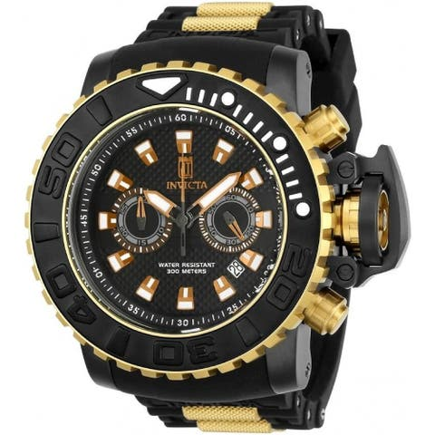 Invicta Men's 23719 'Jason Taylor' Automatic Black and Gold-Tone Polyurethane and Stainless Steel Watch - Multi
