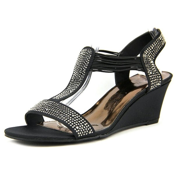 New York Transit Great Right 2 Women Open Toe Canvas Black Wedge Sandal