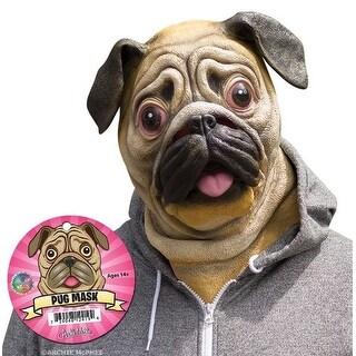 Pug Dog Head Costume Latex Mask Adult - TAN
