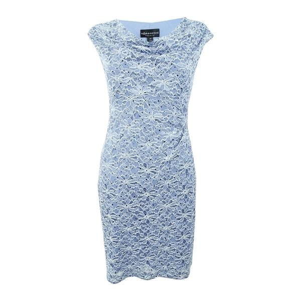 Cowl Neck Sheath Dresses: Shop Connected Women's Plus Size Lace Cowl-Neck Sheath