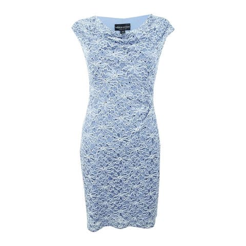 Connected Women's Plus Size Lace Cowl-Neck Sheath Dress - Slate Blue