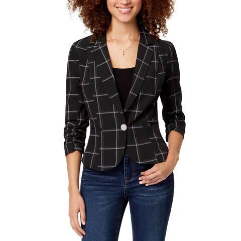 XOXO Blazer Black Size XS Junior One Button 3/4 Ruched-Sleeve Plaid