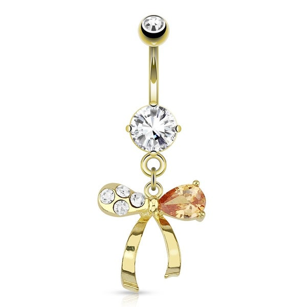 Ribbon With Clear and Topaz Colored Gems Dangle gold-plated Navel Belly Button Ring