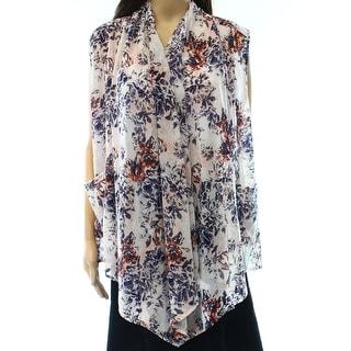 Wild Pearl NEW White Size Medium M Junior Floral-Print Vest Sweater