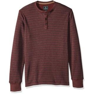 G.H. Bass & Co. Red Mens Size XL Textured Striped Henley Tee T-Shirt