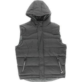 True Rock Mens Big & Tall Hooded Solid Outerwear Vest - 2XL