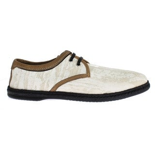 Dolce & Gabbana White Denim Brown Leather Casual Shoes - 39