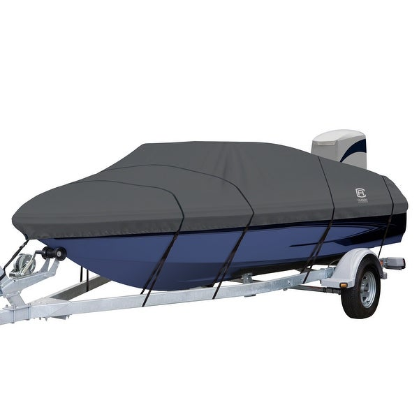 StormPro Heavy Duty V-Hull Inboard/Outboard Cover with Support Pole. Opens flyout.