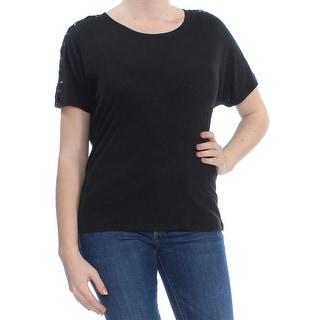 RALPH LAUREN Womens Black Embellished Short Sleeve Jewel Neck T-Shirt Top  Size: M