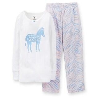 Carter's Little Girls' 2 Piece Pant PJ Set - Zebra - 4T