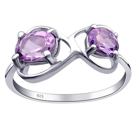 Amethyst, Garnet, Peridot Sterling Silver Oval Promise Ring By Orchid Jewelry