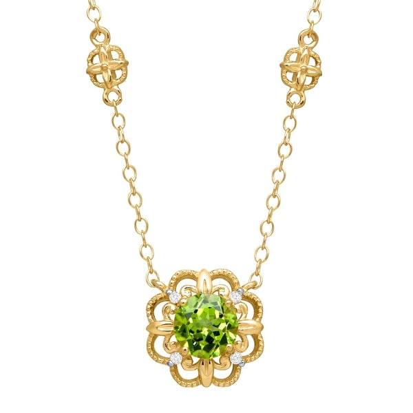 1 ct Peridot Rosette Necklace with Diamonds in 14K Yellow Gold