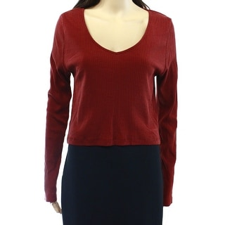 TopShop NEW Red Women Size 4 Long Sleeve Cropped V-Neck Ribbed Knit Top