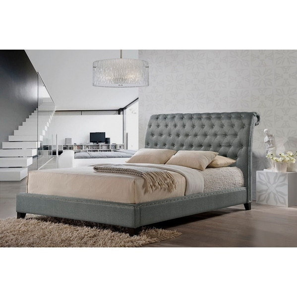 1835b293fc Shop Jazmin Tufted Grey Platform Bed w/Upholstered Headboard (Queen) - Free  Shipping Today - Overstock - 20726343