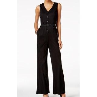 Nine West NEW Black Womens Size 16 Pinstriped V-Neck Belted Jumpsuit