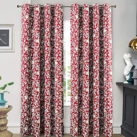 DriftAway Isa Flowers Leaves Botanical Classic Pattern Blackout Grommet Window Curtains Set of 2 Panels 52 Inch by 84 Inch Red